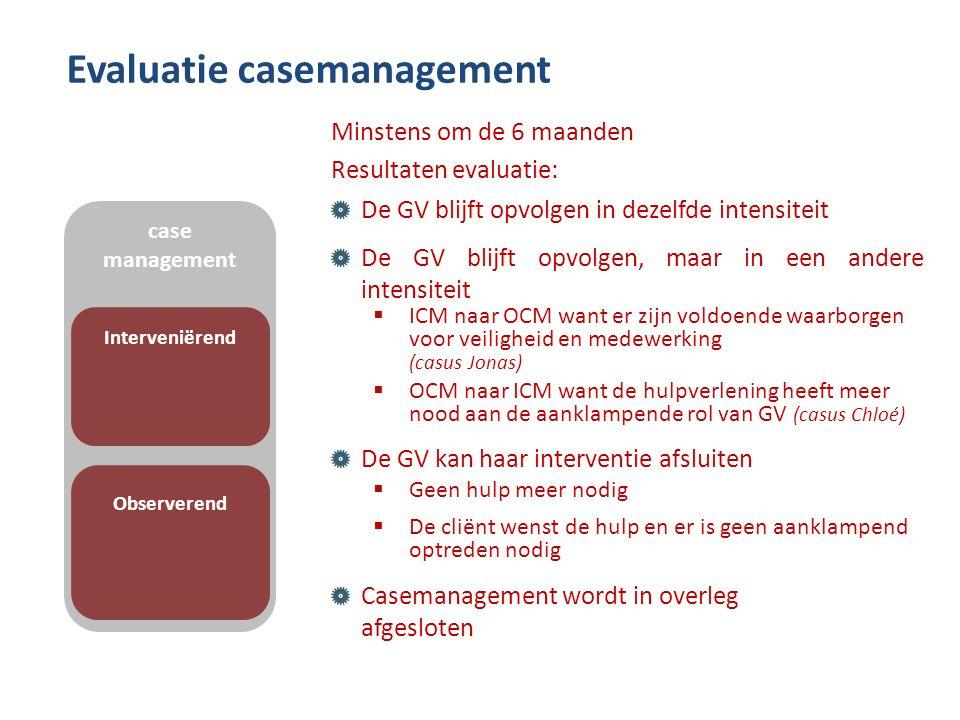 Evaluatie casemanagement Minstens om de 6 maanden Resultaten evaluatie: De GV blijft opvolgen in dezelfde intensiteit De GV blijft opvolgen, maar in e