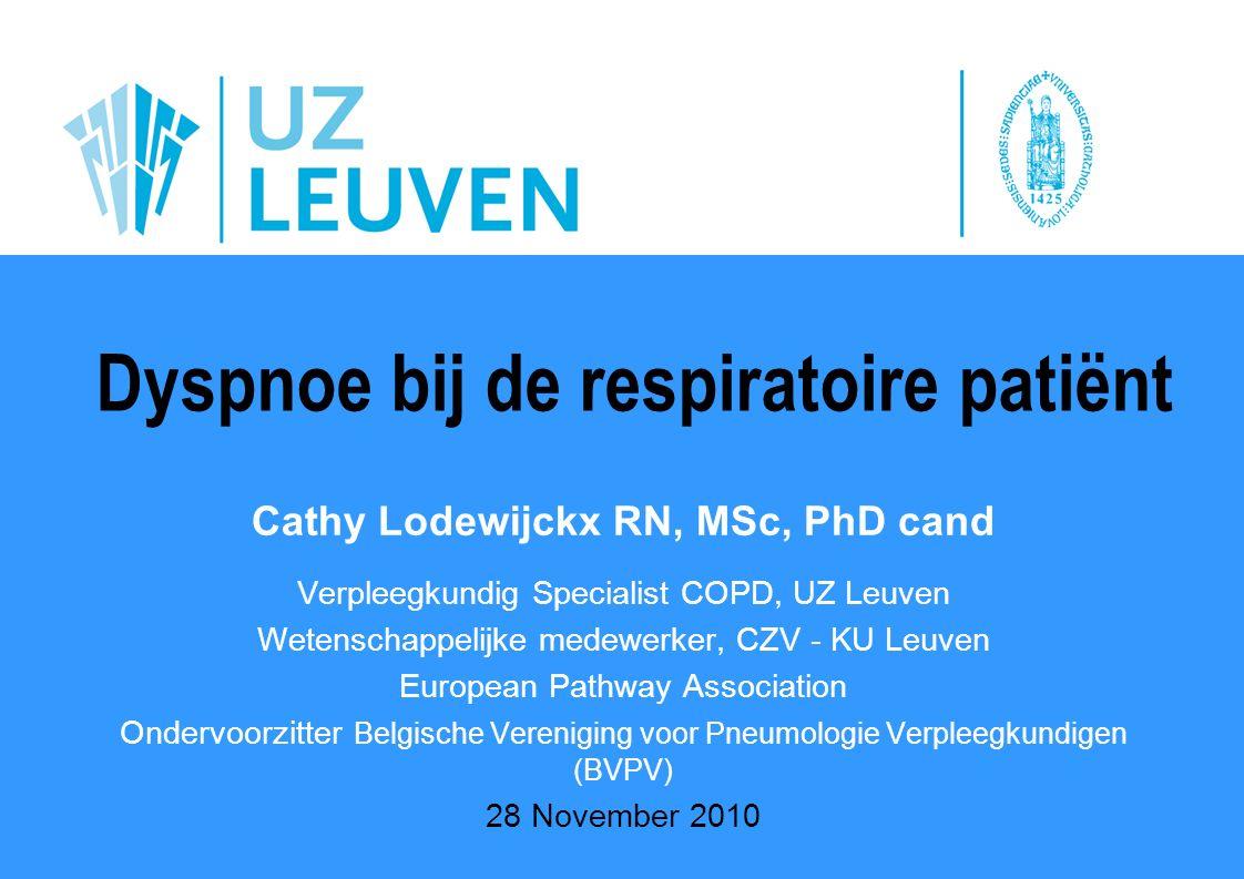 28 november 2010 Cathy Lodewijckx RN, MSc, PhD cand Verpleegkundig Specialist COPD, UZ Leuven Wetenschappelijke medewerker, CZV - KU Leuven European P