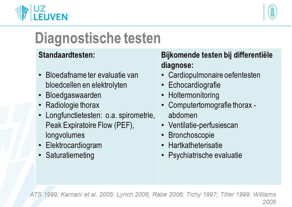 Diagnostische testen Standaardtesten: Bloedafname ter evaluatie van bloedcellen en elektrolyten Bloedgaswaarden Radiologie thorax Longfunctietesten: o