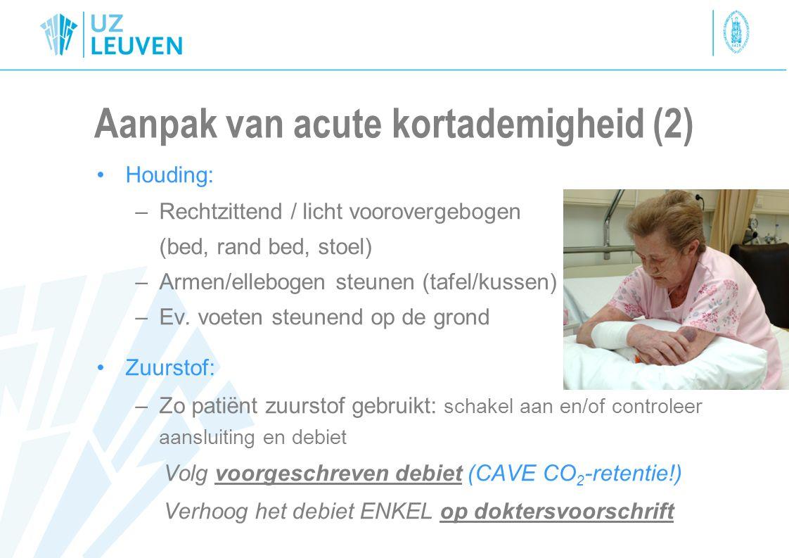 Aanpak van acute kortademigheid (2) Houding: –Rechtzittend / licht voorovergebogen (bed, rand bed, stoel) –Armen/ellebogen steunen (tafel/kussen) –Ev.