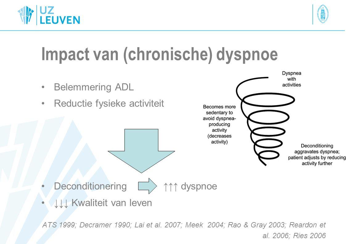 Oorzaken van dyspnoe(1) Pulmonair –Obstructief: beperking van uitademing O.a.: COPD, astma, tumor, … –Restrictief: beperking van longexpansie (= ↓ longvolumes) O.a.