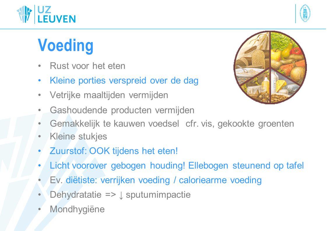 Voeding Rust voor het eten Kleine porties verspreid over de dag Vetrijke maaltijden vermijden Gashoudende producten vermijden Gemakkelijk te kauwen vo