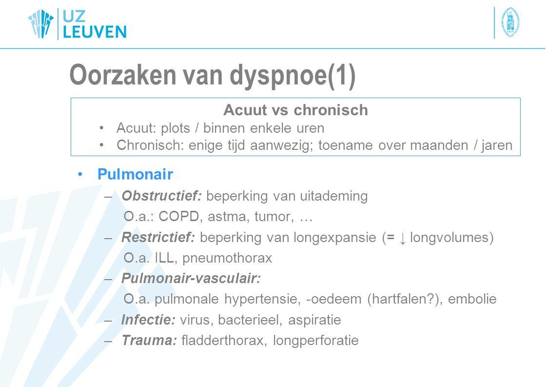 Oorzaken van dyspnoe (2) Cardiovasculair O.a.: Hartfalen, anemie, VCS syndroom, … Neuromusculair: O.a.