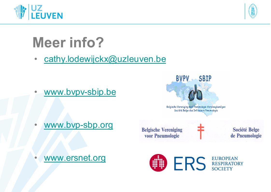 Meer info? cathy.lodewijckx@uzleuven.be www.bvpv-sbip.be www.bvp-sbp.org www.ersnet.org
