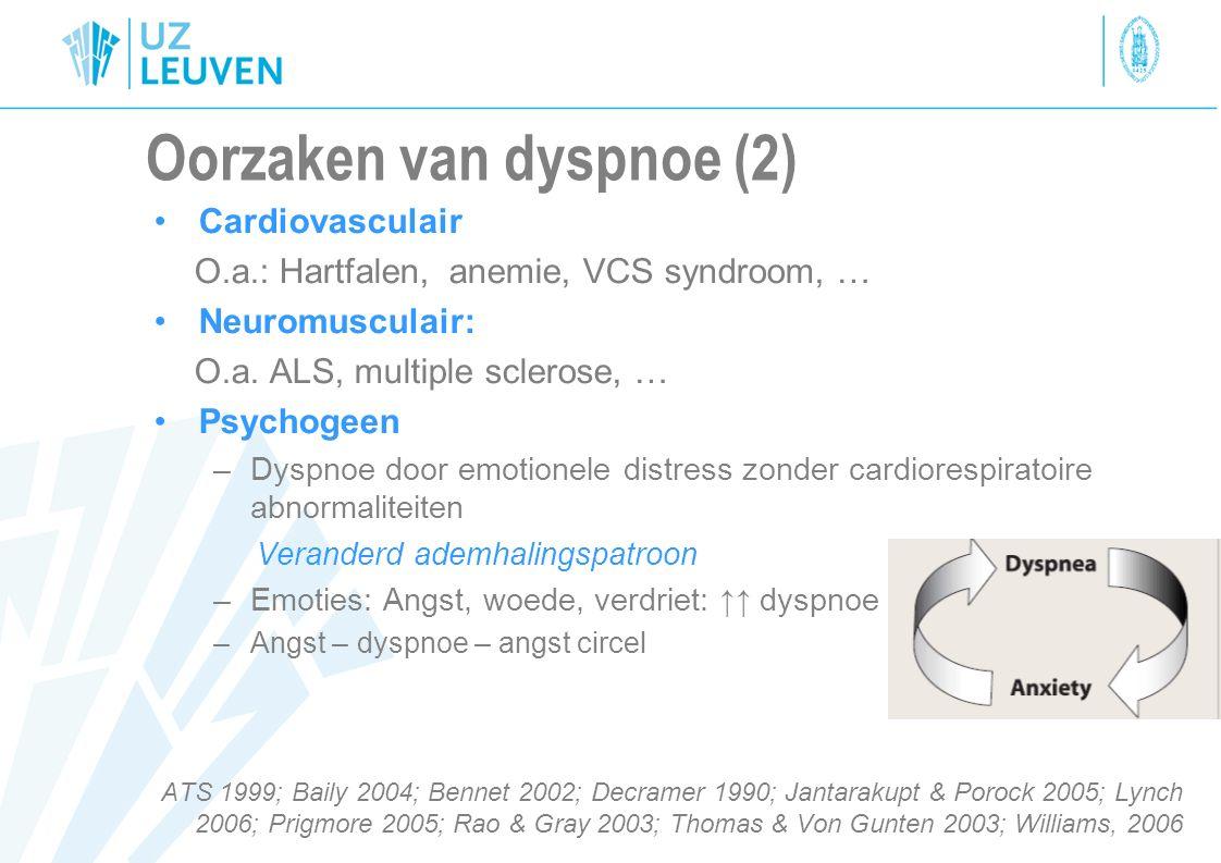 Oorzaken van dyspnoe (2) Cardiovasculair O.a.: Hartfalen, anemie, VCS syndroom, … Neuromusculair: O.a. ALS, multiple sclerose, … Psychogeen –Dyspnoe d