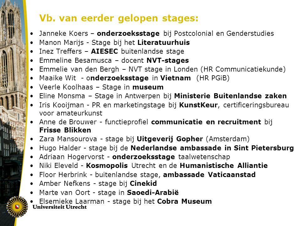 Vb. van eerder gelopen stages: Janneke Koers – onderzoeksstage bij Postcolonial en Genderstudies Manon Marijs - Stage bij het Literatuurhuis Inez Tref