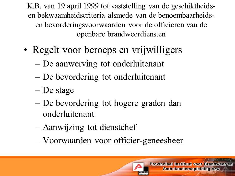 K.B. van 19 april 1999 tot vaststelling van de geschiktheids- en bekwaamheidscriteria alsmede van de benoembaarheids- en bevorderingsvoorwaarden voor