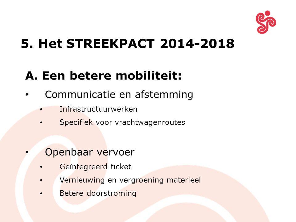 A.Een betere mobiliteit: Communicatie en afstemming Infrastructuurwerken Specifiek voor vrachtwagenroutes Openbaar vervoer Geïntegreerd ticket Vernieuwing en vergroening materieel Betere doorstroming 5.