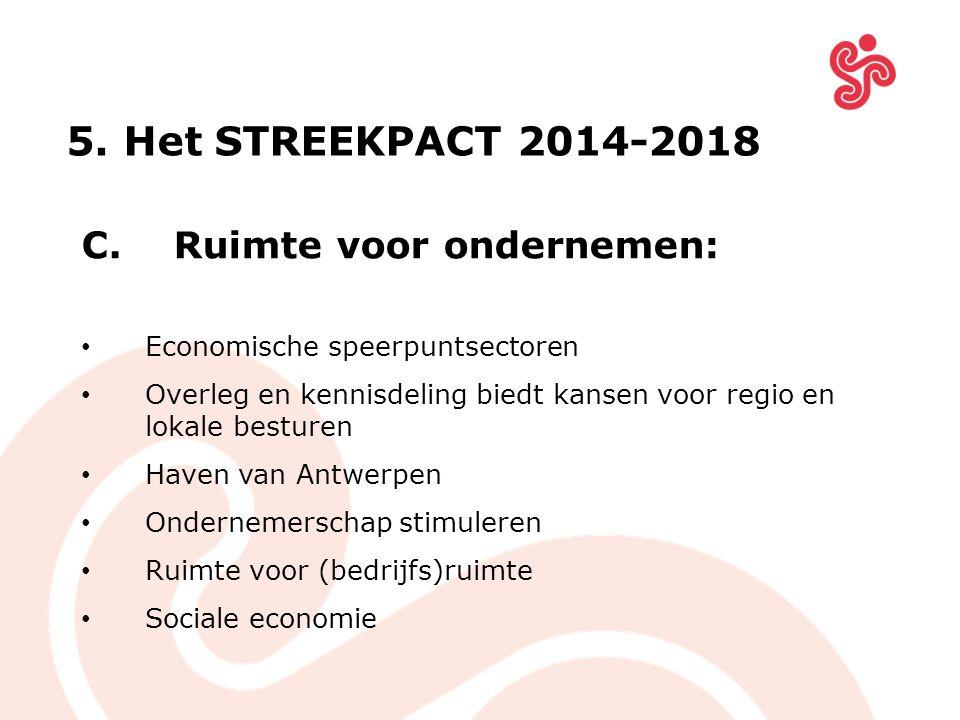 C. Ruimte voor ondernemen: Economische speerpuntsectoren Overleg en kennisdeling biedt kansen voor regio en lokale besturen Haven van Antwerpen Ondern