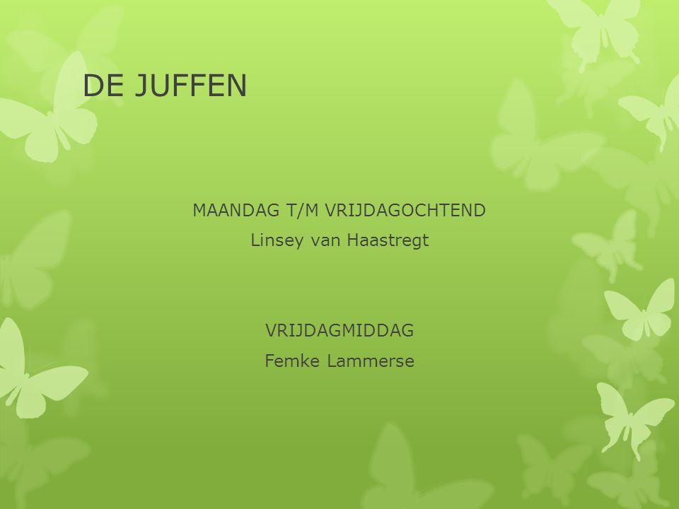 DE JUFFEN MAANDAG T/M VRIJDAGOCHTEND Linsey van Haastregt VRIJDAGMIDDAG Femke Lammerse