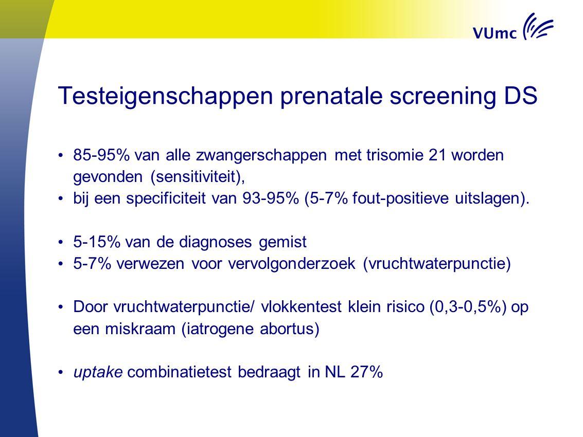 Testeigenschappen prenatale screening DS 85-95% van alle zwangerschappen met trisomie 21 worden gevonden (sensitiviteit), bij een specificiteit van 93-95% (5-7% fout-positieve uitslagen).