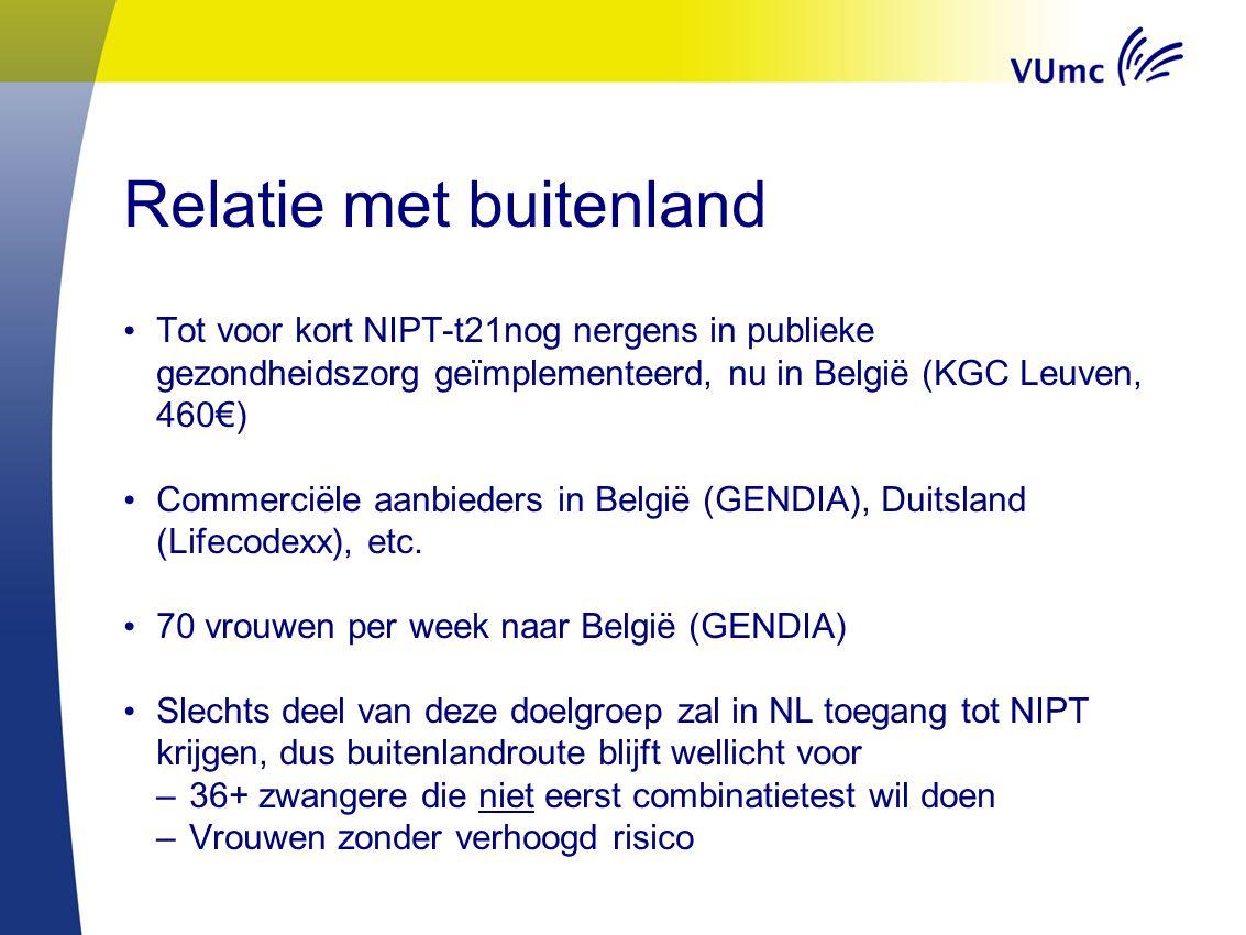 Relatie met buitenland Tot voor kort NIPT-t21nog nergens in publieke gezondheidszorg geïmplementeerd, nu in België (KGC Leuven, 460€) Commerciële aanb