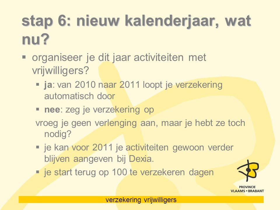 verzekering vrijwilligers stap 6: nieuw kalenderjaar, wat nu?  organiseer je dit jaar activiteiten met vrijwilligers?  ja: van 2010 naar 2011 loopt