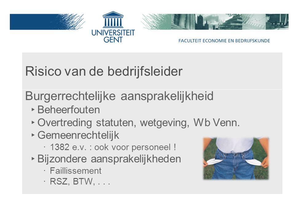 Risico van de bedrijfsleider Burgerrechtelijke aansprakelijkheid ‣ Beheerfouten ‣ Overtreding statuten, wetgeving, Wb Venn.