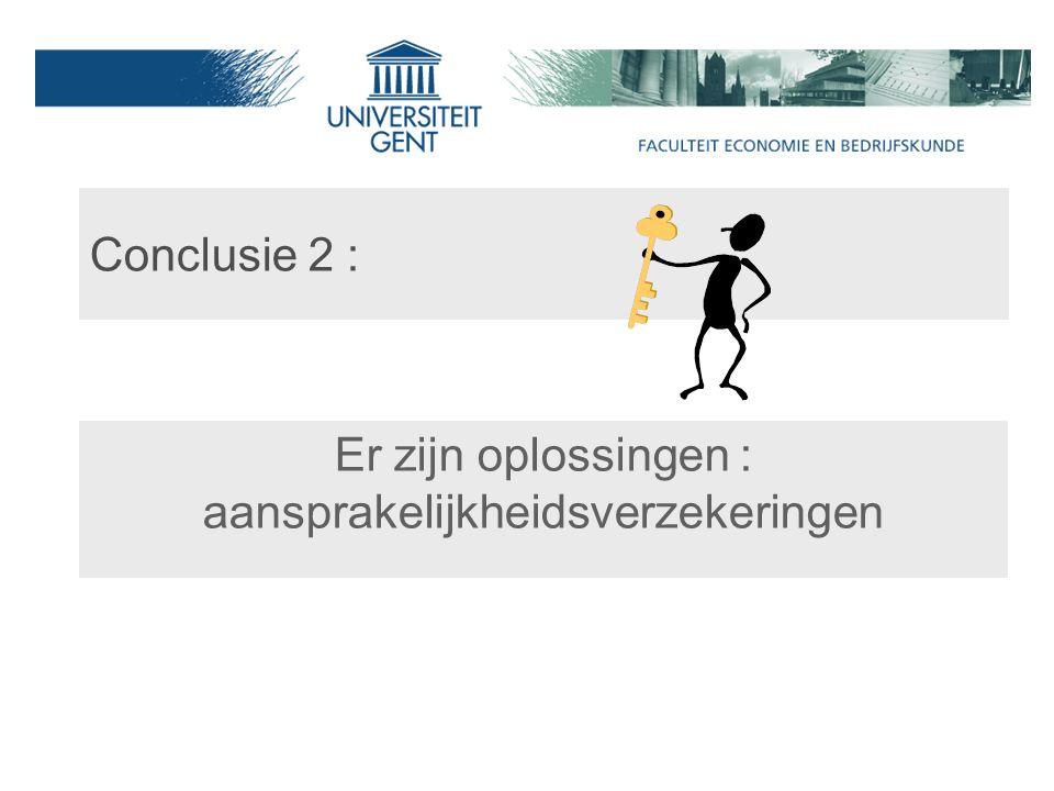 Conclusie 2 : Er zijn oplossingen : aansprakelijkheidsverzekeringen