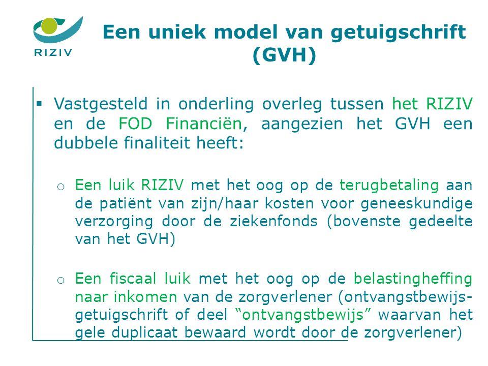 Een uniek model van getuigschrift (GVH)  Vastgesteld in onderling overleg tussen het RIZIV en de FOD Financiën, aangezien het GVH een dubbele finaliteit heeft: o Een luik RIZIV met het oog op de terugbetaling aan de patiënt van zijn/haar kosten voor geneeskundige verzorging door de ziekenfonds (bovenste gedeelte van het GVH) o Een fiscaal luik met het oog op de belastingheffing naar inkomen van de zorgverlener (ontvangstbewijs- getuigschrift of deel ontvangstbewijs waarvan het gele duplicaat bewaard wordt door de zorgverlener)