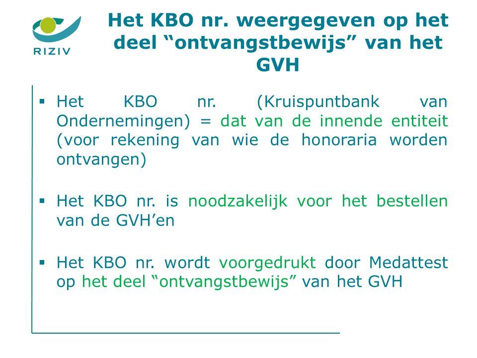 Het KBO nr. weergegeven op het deel ontvangstbewijs van het GVH  Het KBO nr.