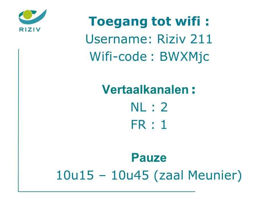 Toegang tot wifi : Username: Riziv 211 Wifi-code : BWXMjc Vertaalkanalen : NL : 2 FR : 1 Pauze 10u15 – 10u45 (zaal Meunier)