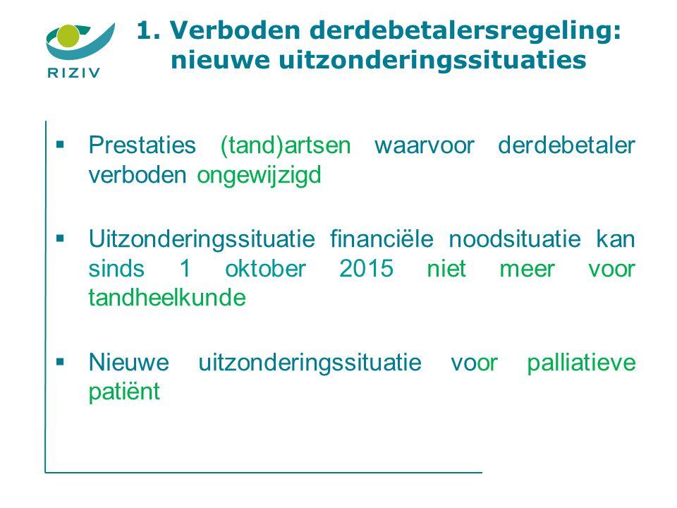1. Verboden derdebetalersregeling: nieuwe uitzonderingssituaties  Prestaties (tand)artsen waarvoor derdebetaler verboden ongewijzigd  Uitzonderingss