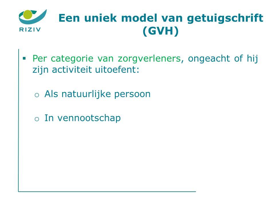 Een uniek model van getuigschrift (GVH)  Per categorie van zorgverleners, ongeacht of hij zijn activiteit uitoefent: o Als natuurlijke persoon o In vennootschap