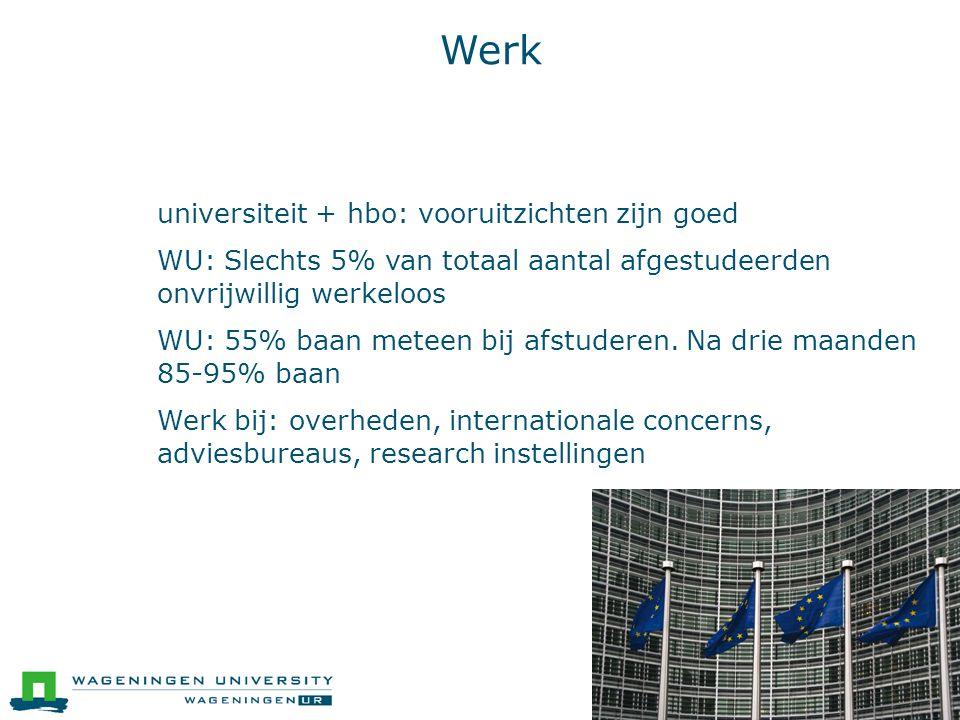 Werk ● universiteit + hbo: vooruitzichten zijn goed ● WU: Slechts 5% van totaal aantal afgestudeerden onvrijwillig werkeloos ● WU: 55% baan meteen bij afstuderen.