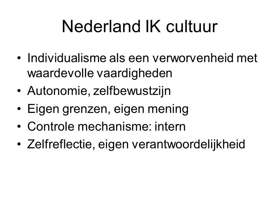 Nederland IK cultuur Individualisme als een verworvenheid met waardevolle vaardigheden Autonomie, zelfbewustzijn Eigen grenzen, eigen mening Controle mechanisme: intern Zelfreflectie, eigen verantwoordelijkheid