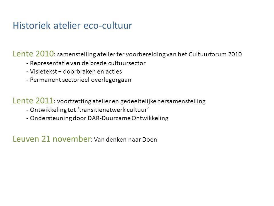Historiek atelier eco-cultuur Lente 2010 : samenstelling atelier ter voorbereiding van het Cultuurforum 2010 - Representatie van de brede cultuursecto