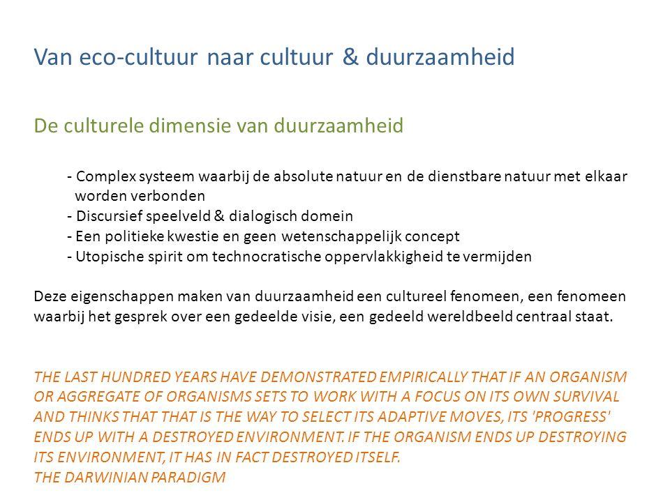 Van eco-cultuur naar cultuur & duurzaamheid De culturele dimensie van duurzaamheid - Complex systeem waarbij de absolute natuur en de dienstbare natuu