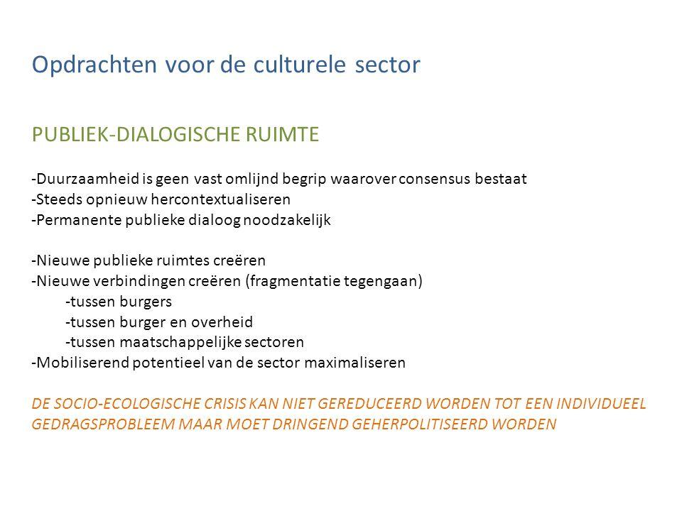 Opdrachten voor de culturele sector PUBLIEK-DIALOGISCHE RUIMTE -Duurzaamheid is geen vast omlijnd begrip waarover consensus bestaat -Steeds opnieuw hercontextualiseren -Permanente publieke dialoog noodzakelijk -Nieuwe publieke ruimtes creëren -Nieuwe verbindingen creëren (fragmentatie tegengaan) -tussen burgers -tussen burger en overheid -tussen maatschappelijke sectoren -Mobiliserend potentieel van de sector maximaliseren DE SOCIO-ECOLOGISCHE CRISIS KAN NIET GEREDUCEERD WORDEN TOT EEN INDIVIDUEEL GEDRAGSPROBLEEM MAAR MOET DRINGEND GEHERPOLITISEERD WORDEN