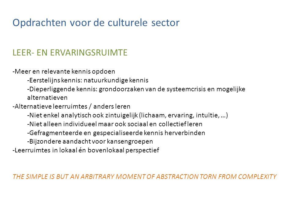 Opdrachten voor de culturele sector LEER- EN ERVARINGSRUIMTE -Meer en relevante kennis opdoen -Eerstelijns kennis: natuurkundige kennis -Dieperliggend