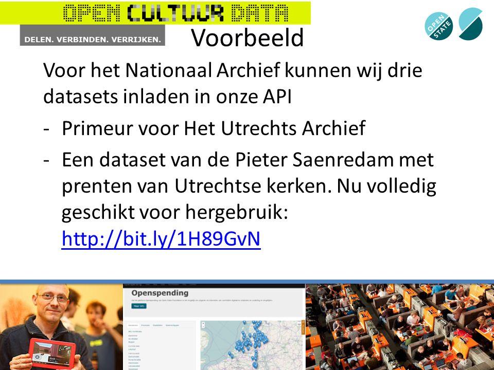 Voorbeeld Voor het Nationaal Archief kunnen wij drie datasets inladen in onze API -Primeur voor Het Utrechts Archief -Een dataset van de Pieter Saenredam met prenten van Utrechtse kerken.