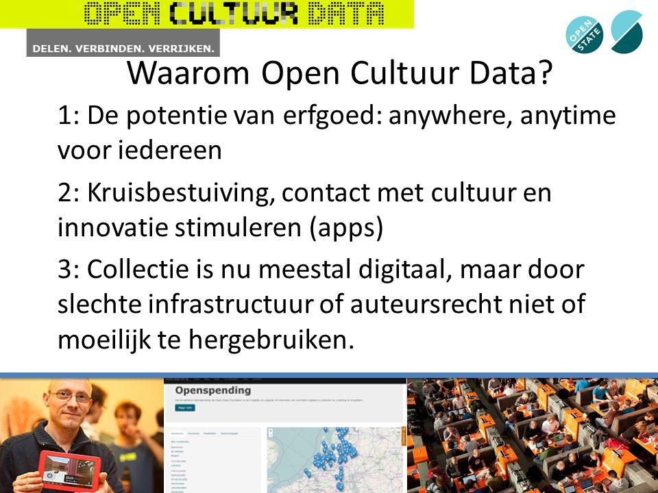 1: De potentie van erfgoed: anywhere, anytime voor iedereen 2: Kruisbestuiving, contact met cultuur en innovatie stimuleren (apps) 3: Collectie is nu meestal digitaal, maar door slechte infrastructuur of auteursrecht niet of moeilijk te hergebruiken.