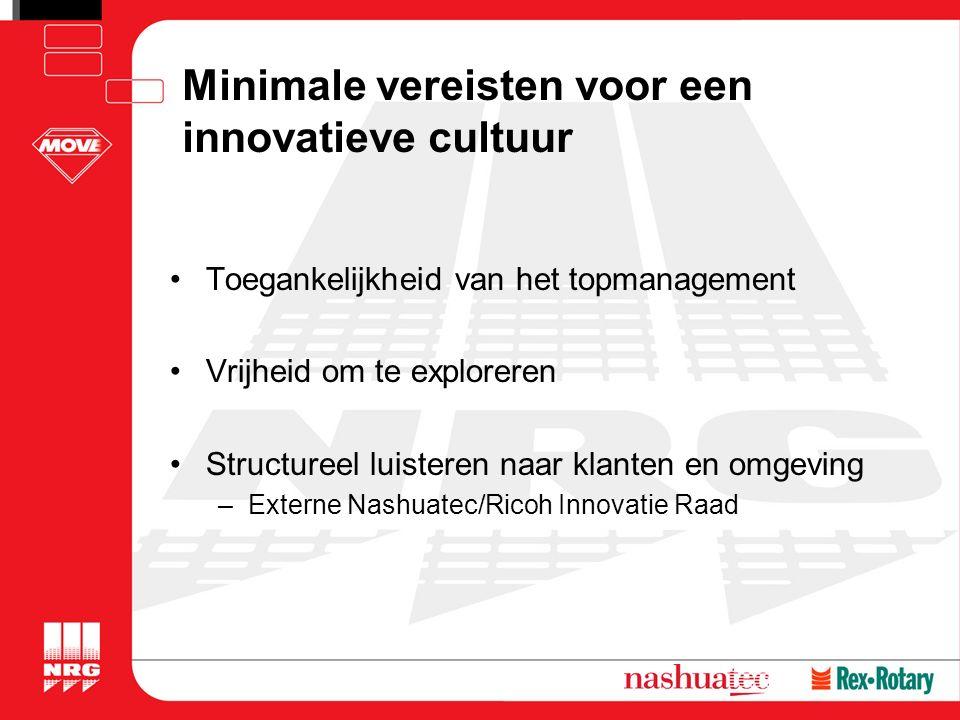 Minimale vereisten voor een innovatieve cultuur Toegankelijkheid van het topmanagement Vrijheid om te exploreren Structureel luisteren naar klanten en omgeving –Externe Nashuatec/Ricoh Innovatie Raad