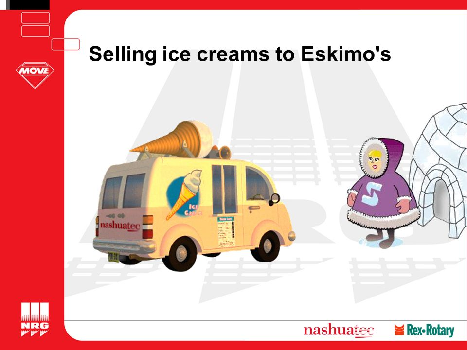 Selling ice creams to Eskimo s