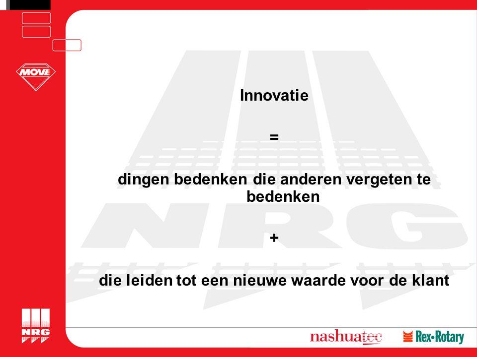 Innovatie = dingen bedenken die anderen vergeten te bedenken + die leiden tot een nieuwe waarde voor de klant