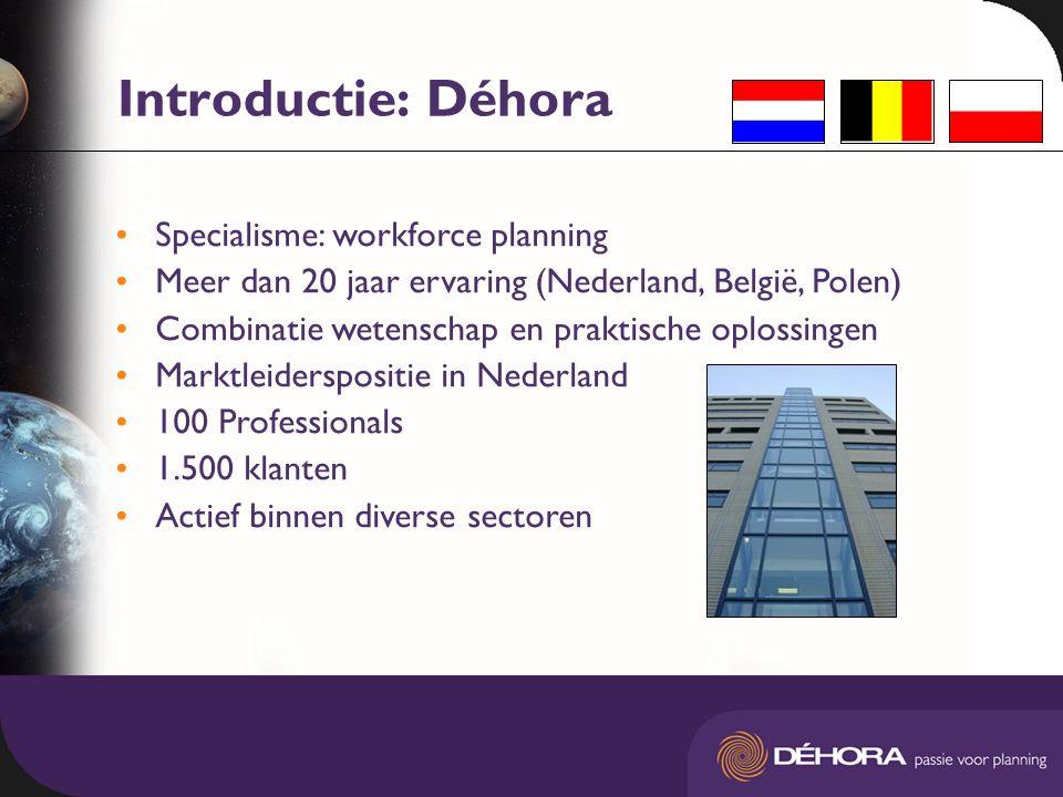 Introductie: Déhora Specialisme: workforce planning Meer dan 20 jaar ervaring (Nederland, België, Polen) Combinatie wetenschap en praktische oplossingen Marktleiderspositie in Nederland 100 Professionals 1.500 klanten Actief binnen diverse sectoren