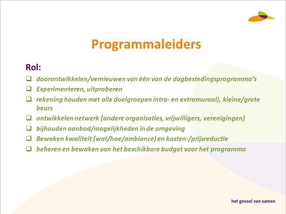 Programmaleiders Rol:  doorontwikkelen/vernieuwen van één van de dagbestedingsprogramma's  Experimenteren, uitproberen  rekening houden met alle do