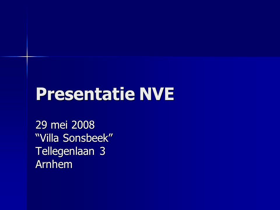 Presentatie NVE 29 mei 2008 Villa Sonsbeek Tellegenlaan 3 Arnhem