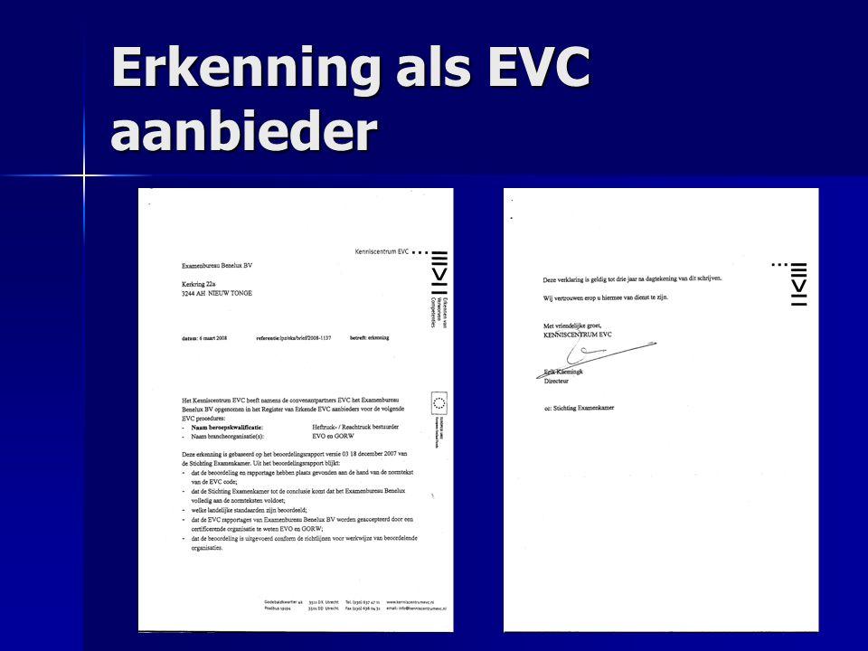 Erkenning als EVC aanbieder