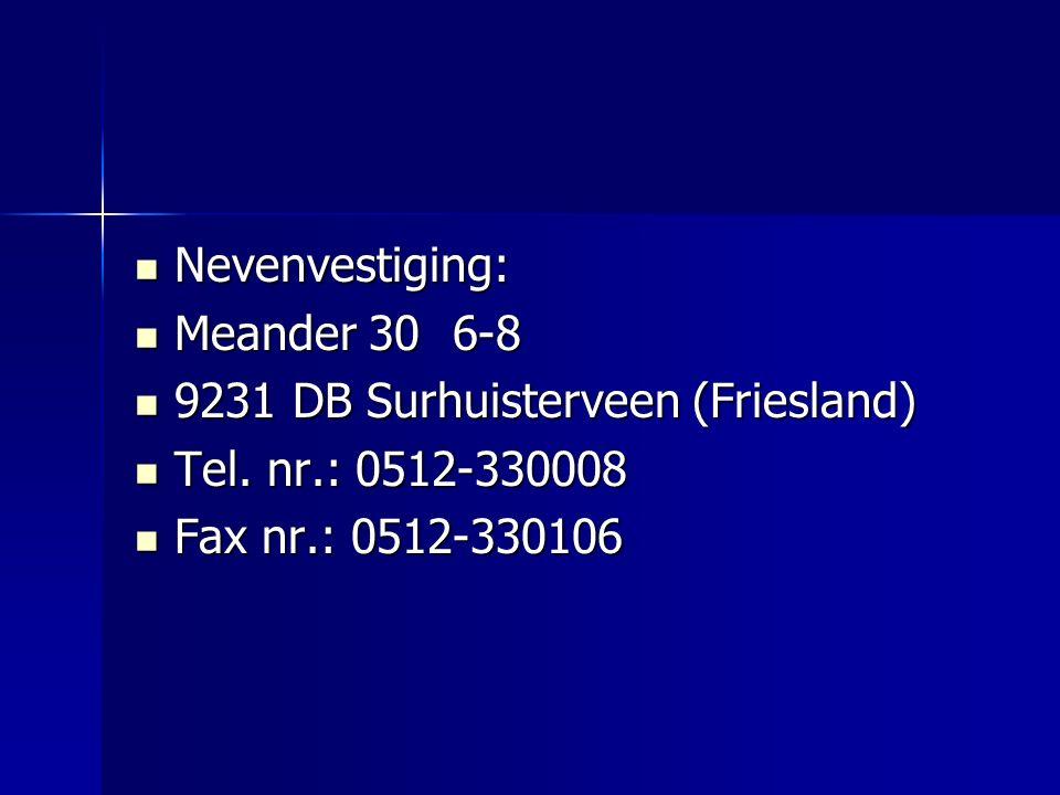 Nevenvestiging: Nevenvestiging: Meander 306-8 Meander 306-8 9231 DB Surhuisterveen (Friesland) 9231 DB Surhuisterveen (Friesland) Tel.