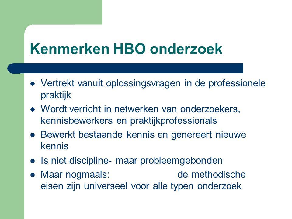 Kenmerken HBO onderzoek Vertrekt vanuit oplossingsvragen in de professionele praktijk Wordt verricht in netwerken van onderzoekers, kennisbewerkers en praktijkprofessionals Bewerkt bestaande kennis en genereert nieuwe kennis Is niet discipline- maar probleemgebonden Maar nogmaals: de methodische eisen zijn universeel voor alle typen onderzoek