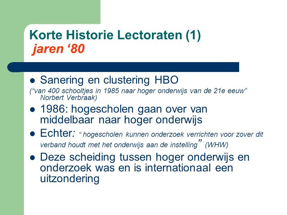 """Korte Historie Lectoraten (1) jaren '80 Sanering en clustering HBO (""""van 400 schooltjes in 1985 naar hoger onderwijs van de 21e eeuw"""" Norbert Verbraak"""