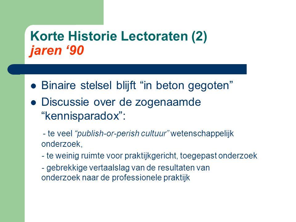 """Korte Historie Lectoraten (2) jaren '90 Binaire stelsel blijft """"in beton gegoten"""" Discussie over de zogenaamde """"kennisparadox"""": - te veel """"publish-or-"""