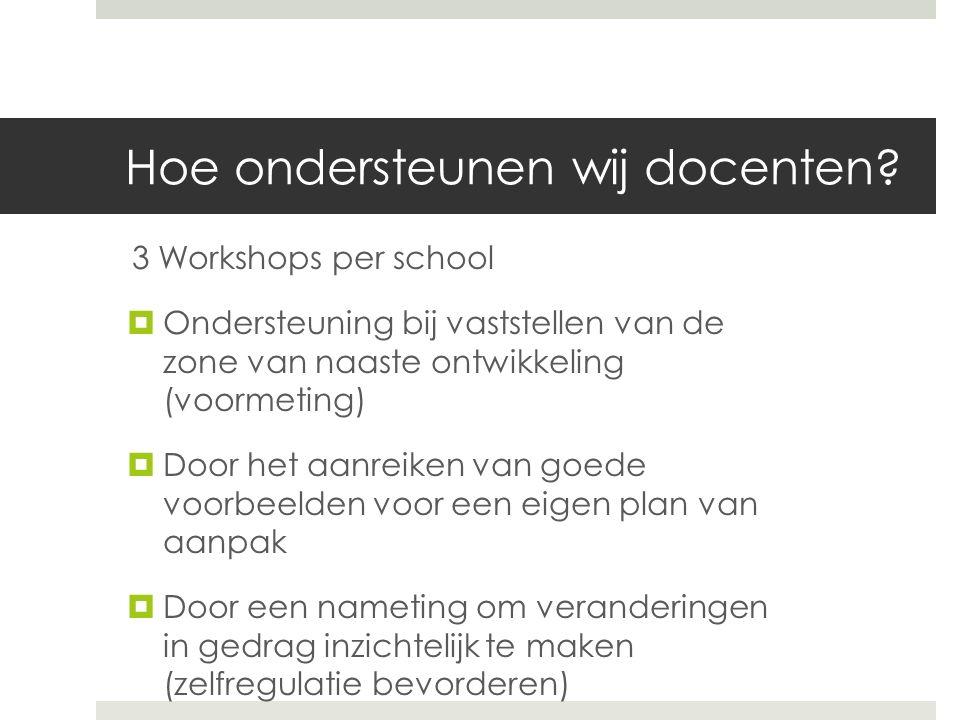 Hoe ondersteunen wij docenten? 3 Workshops per school  Ondersteuning bij vaststellen van de zone van naaste ontwikkeling (voormeting)  Door het aanr