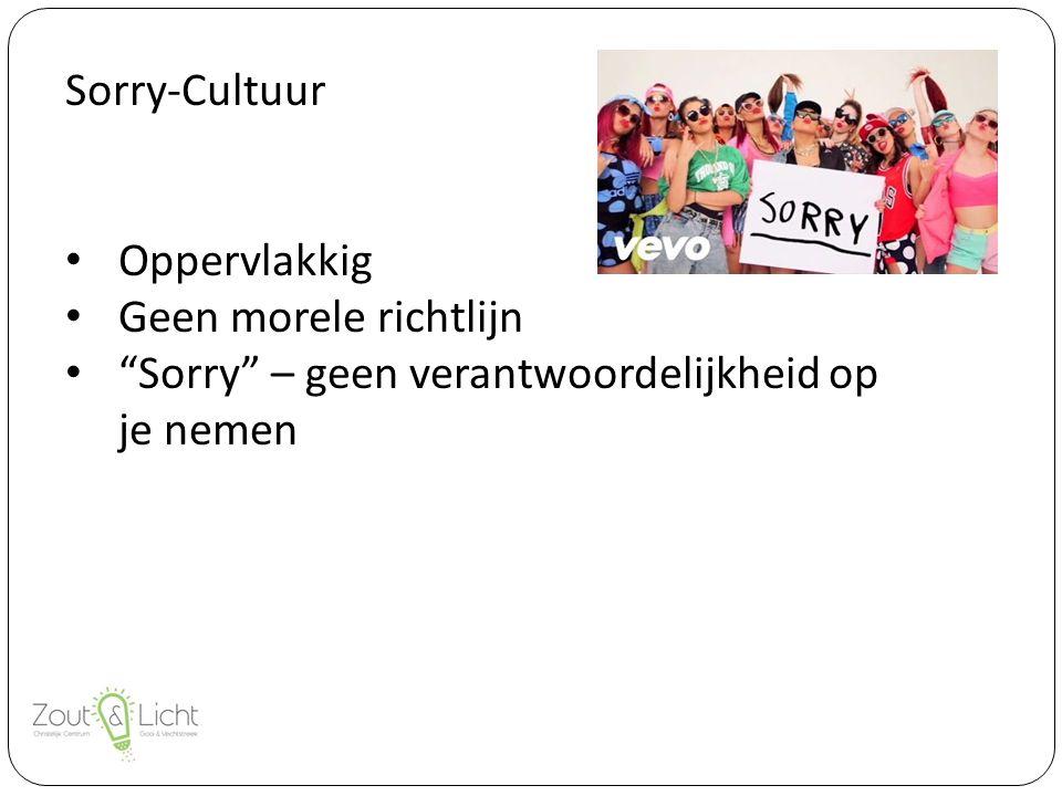 Sorry-Cultuur Oppervlakkig Geen morele richtlijn Sorry – geen verantwoordelijkheid op je nemen