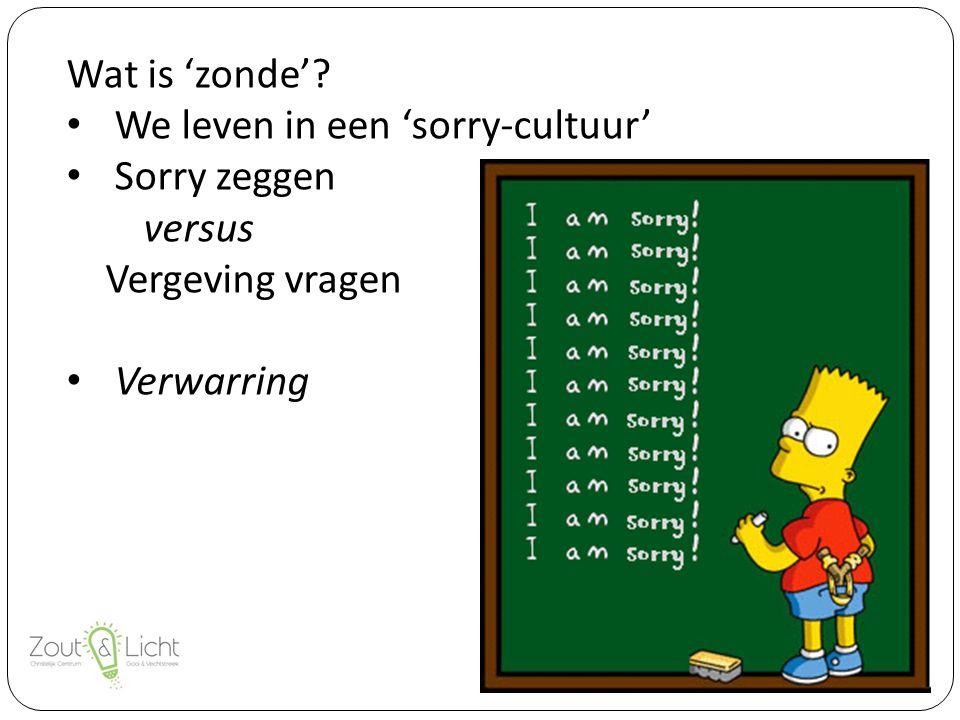 Wat is 'zonde' We leven in een 'sorry-cultuur' Sorry zeggen versus Vergeving vragen Verwarring