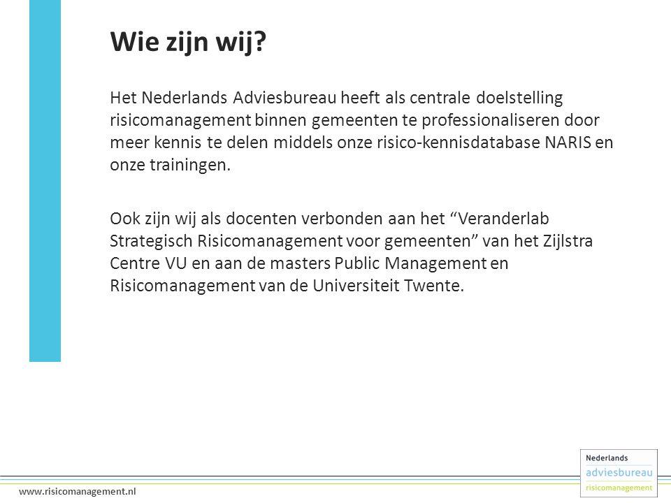 2 www.risicomanagement.nl Het Nederlands Adviesbureau heeft als centrale doelstelling risicomanagement binnen gemeenten te professionaliseren door meer kennis te delen middels onze risico-kennisdatabase NARIS en onze trainingen.