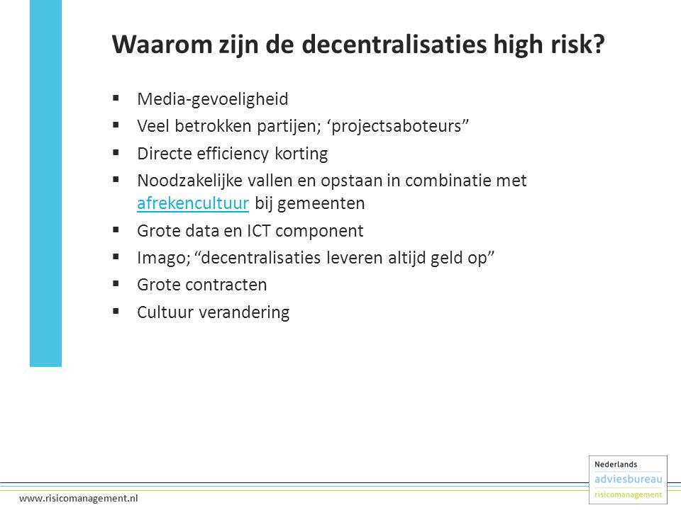 """6 www.risicomanagement.nl  Media-gevoeligheid  Veel betrokken partijen; 'projectsaboteurs""""  Directe efficiency korting  Noodzakelijke vallen en op"""