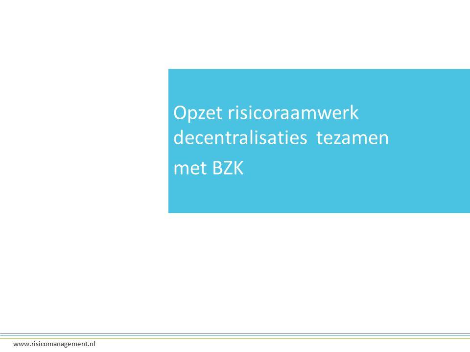 9 www.risicomanagement.nl Opzet risicoraamwerk decentralisaties tezamen met BZK