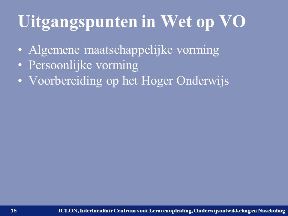 Universiteit Leiden. Bij ons leer je de wereld kennen. ICLON, Interfacultair Centrum voor Lerarenopleiding, Onderwijsontwikkeling en Nascholing Uitgan